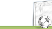 Football Field With Goal. Soccer Drawing In Doodle Style, Football Moments For Tournament.