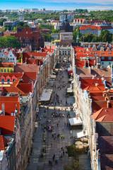 Panel Szklany Podświetlane Gdańsk The long street in Gdansk.