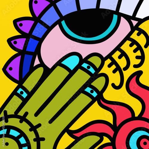 Foto auf Gartenposter Klassische Abstraktion abstract eye decorated