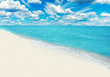 Beautiful tropical sandy beach with white sand