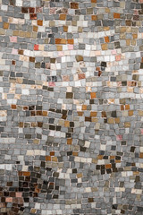 Panel Szklany Vintage wall mosaic with neutral tone rough cut tiles