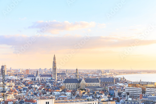 Spoed Foto op Canvas Antwerpen View over Antwerp with cathedral of our lady taken