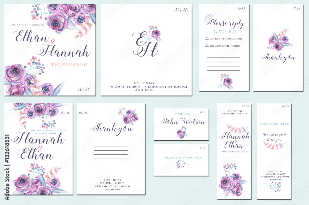 Fototapety, obrazy: Template cards set with watercolor purple roses; wedding design for invitation, number, RSVP, Thank you card, for anniversary day
