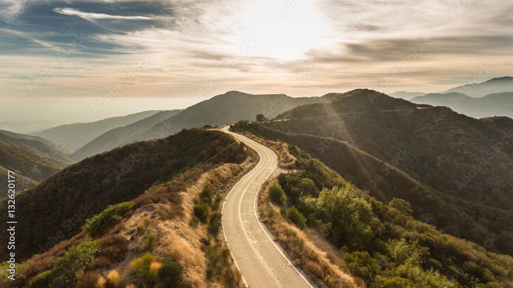 Fototapeta Curvy Mountain Road Sunset