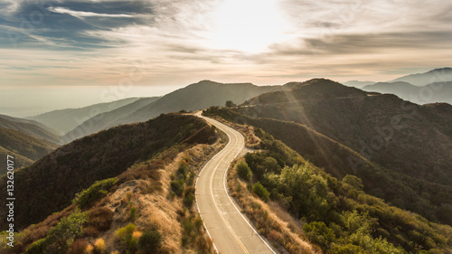 Photo Curvy Mountain Road Sunset
