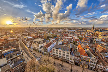 Aerial View Over Groningen City At Sunset