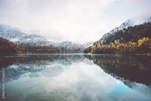 Poster Blanc Lake and autumn Forest Landscape Travel foggy serene scenic view wild nature