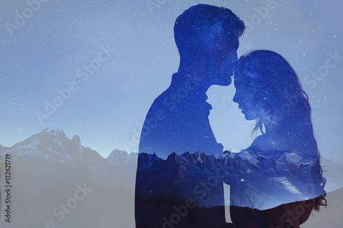 Fotografia  man and woman love, double exposure of couple
