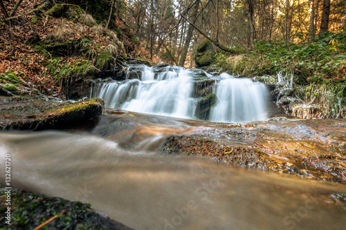Aluminium Prints Mills Cascading stream in the forest