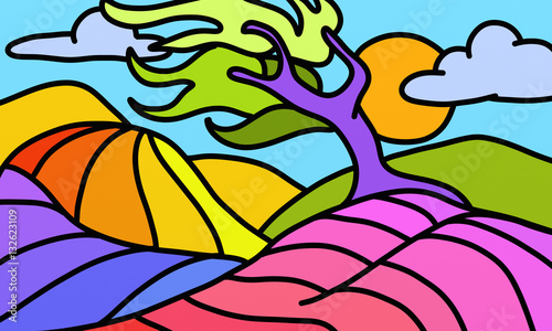Poster Klassieke abstractie twisted colorful tree
