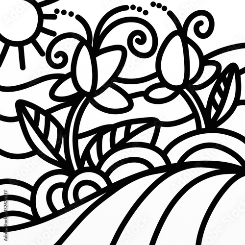 Türaufkleber Klassische Abstraktion design with flowers in the countryside in black and white