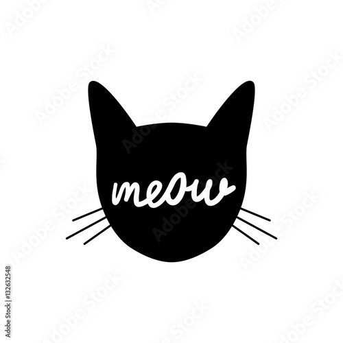 head cat silhouette black icon lettering meow whiskers vector