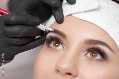 Permanent makeup eyebrows. Canvas Print