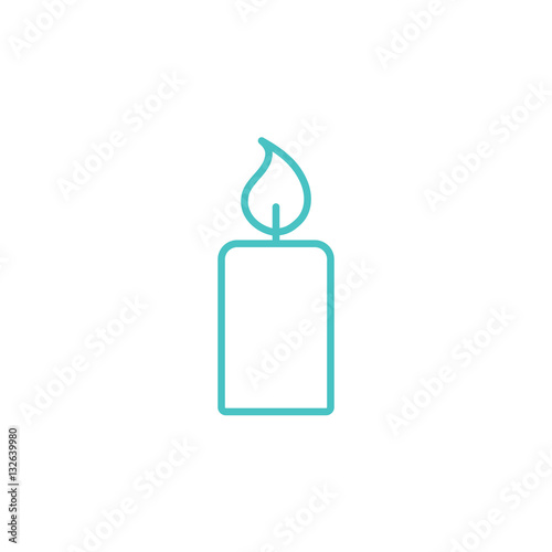 candle light burn wax blue thin line outline icon on white