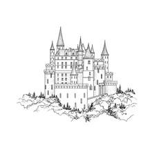 Castle Landmark Sketch Illustr...