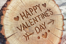 Happy Valentine's Day. Woodcarving Handwork. Lovers. Greeting Ca