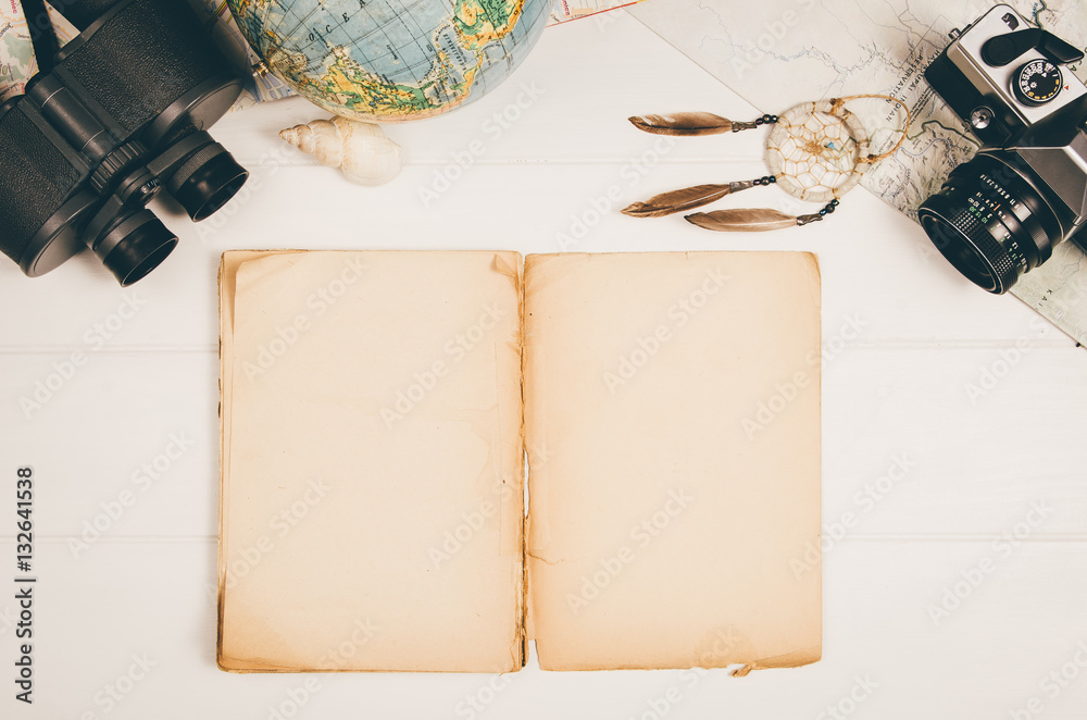 Fototapety, obrazy: Accessories for travel top view on wooden background with copy space. Adventure and wanderlust concept image with travel accessories. Preparing for an exotic trip, journey and sightseeing.