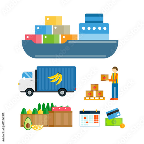 Valokuva  Import export fruits vector illustration.
