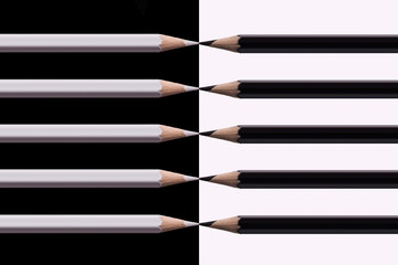 Composition White and Black Pencils.