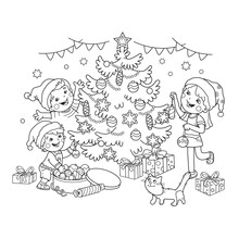 Coloring Page Outline Of Children Decorate The Christmas Tree With Ornaments And Gifts. Christmas. New Year. Coloring Book For Kids