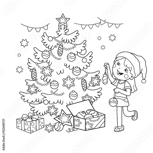 Coloring Page Outline Of cartoon girl decorating the ...
