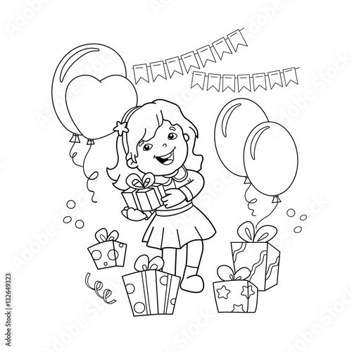 Coloring Page Outline Of cartoon girl with a gift at the ...