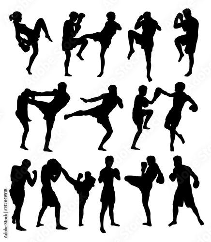 Photo  Muay Thai Or Kickboxing Silhouettes, art vector design