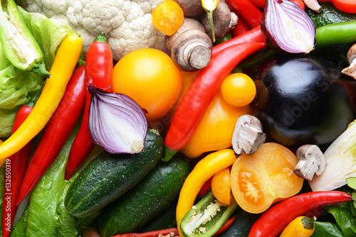 Fotobehang Groenten Group of fresh vegetables, closeup