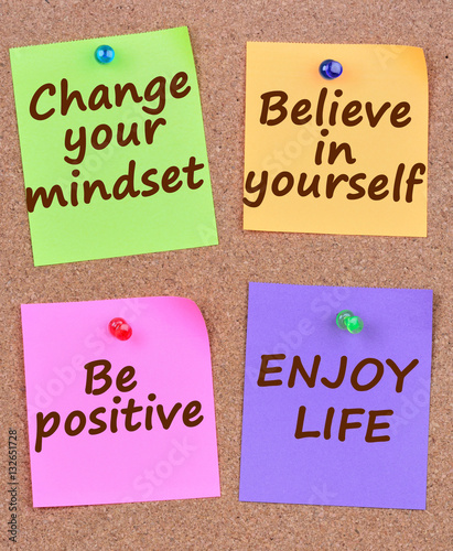Photo  Change your mindset words on notes