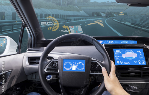 Fotografie, Obraz  cockpit of vehicle, HUD(Head Up Display) and digital speedometer
