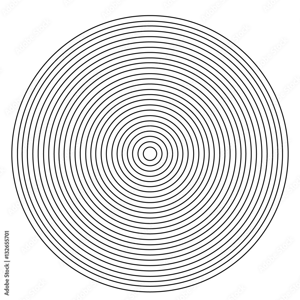 Concentric circle element on a white background