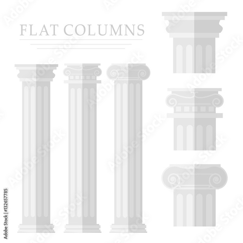 Roman column on a white background Canvas Print