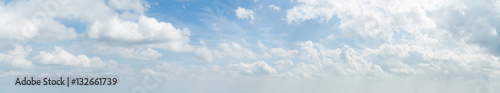 Obraz Panorama of white cloud and blue sky in morning - fototapety do salonu