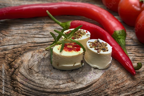 Canvas Prints Appetizer Bruschetta with roasted bell pepper, goat cheese, garlic and herbs
