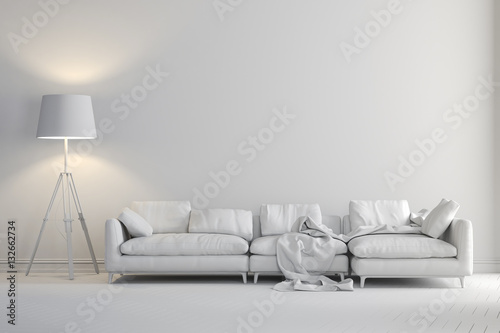 Fototapeta 3d render of beautiful clean interior with couch and floor lamp obraz
