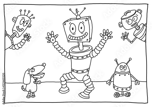 Ausmalbild Roboter Buy This Stock Illustration And Explore