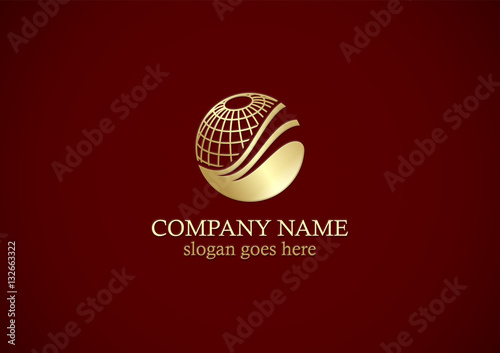 Fototapeta globe sphere technology gold logo obraz