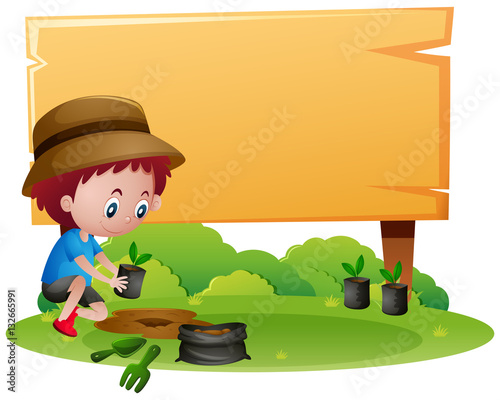 Photo Stands Kids Wooden sign template with boy planting tree