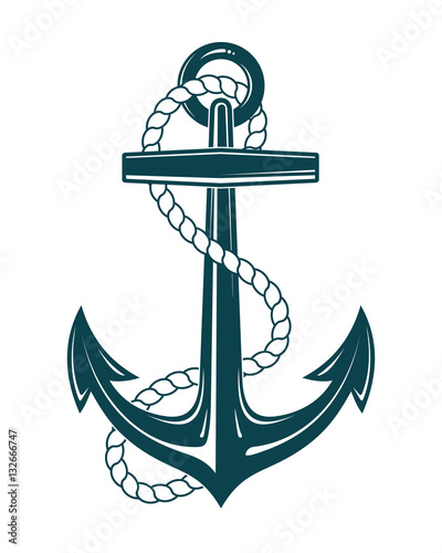 Photo Nautical Anchor with rope