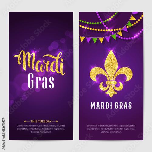 Mardi gras brochures vector logo with hand drawn lettering and mardi gras brochures vector logo with hand drawn lettering and golden fat tuesday symbols m4hsunfo