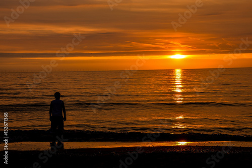 Fotobehang Pier Sea Tropical Sunset