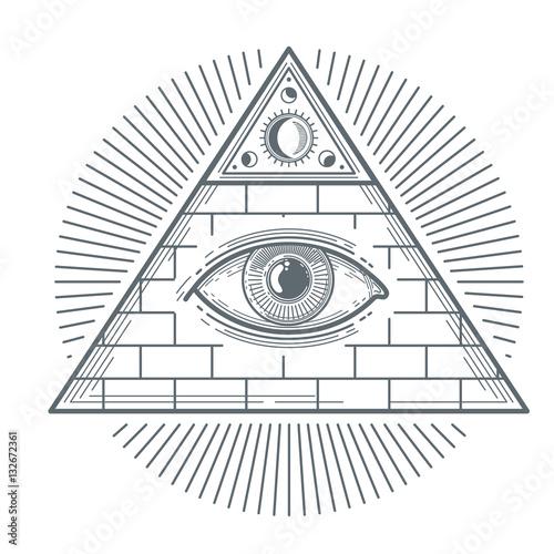 Fotografija  Mystical occult sign with freemasonry eye symbol vector illustration