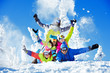 canvas print picture - Group happy friends ski resort