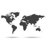 Grey Political World Map