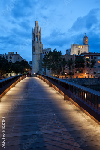 Sant Feliu Bridge and Basilica in Girona Poster