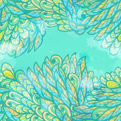 Fototapeta na wymiar Hand drawn seamless grunge blue invitation card design with flow