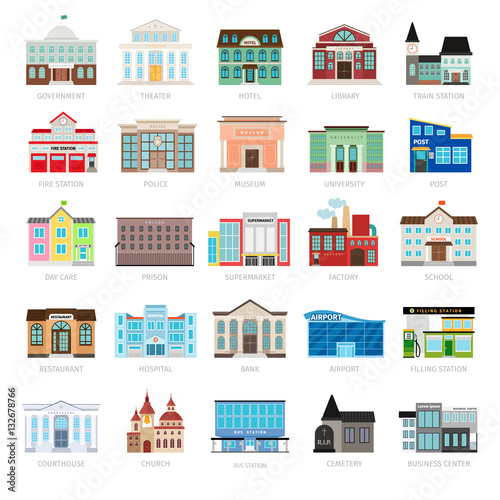 Municipal library and city bank, hospital and school vector icon set. Colored urban government building icons