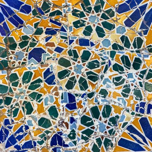 Broken Glass Mosaic Tile Decoration In Park Guell Barcelona Spain