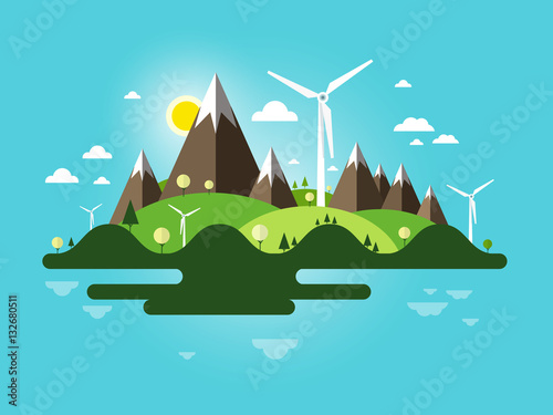 Spoed Foto op Canvas Turkoois Flat Design Landscape. Abstract Nature Scene. Vector Island with Windmills, Mountains and Blue Sky.