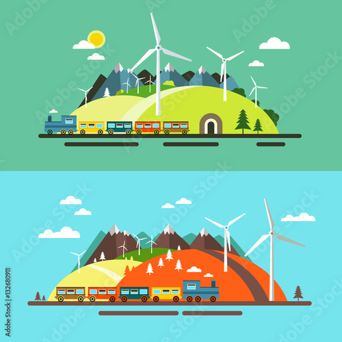 Photo Stands Turquoise Landscape with Train. Abstract Flat Design Nature Scene with Mountains, Hills and Wind Mills